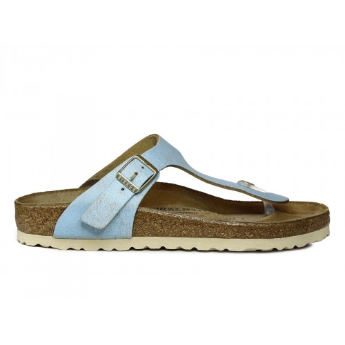 BIRKENSTOCK Infradito Gizeh Washed Metallic Suede Leather Donna